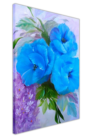 Blue Bouquet on Framed Canvas Wall Art Prints Floral Pictures Home Decoration Room Deco Poster Photo Artwork-3D