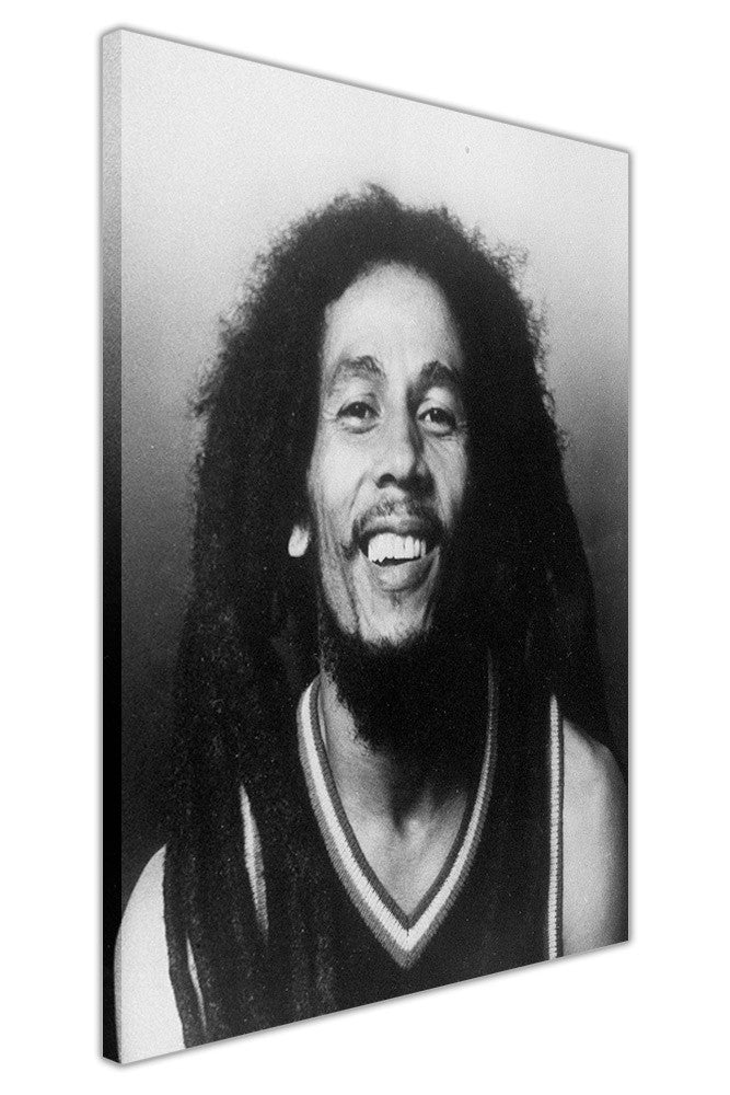 Iconic black and white bob marley photo on framed canvas wall art prints pictures celebrity images