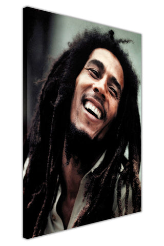 Iconic Bob Marley Smiling Photo on Framed Canvas Wall Art Prints Pictures Celebrity Images Famous People-3D