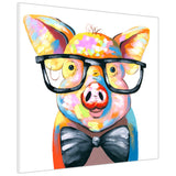 Colourful Piggy With Bow Tie on Canvas Wall Art Pictures Animal Prints for Living Room Decoration Bedroom Office Home Photos Artwork Children Kids-3D
