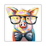 Colourful Piggy With Bow Tie on Canvas Wall Art Pictures Animal Prints for Living Room Decoration Bedroom Office Home Photos Artwork Children Kids-Front