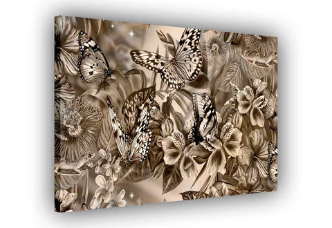 Brown Abstract Butterflies and Flowers on Framed Canvas Wall Art Prints Floral Pictures Home Decoration Room Deco Poster Photo Artwork-3D