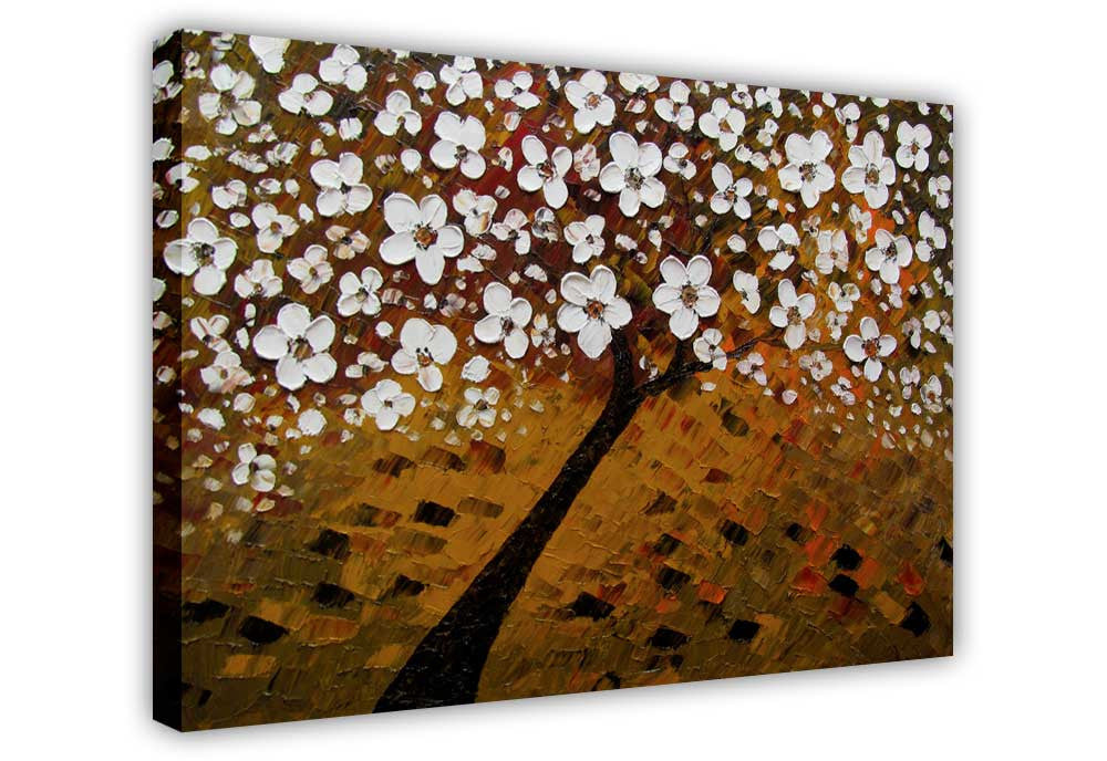 Brown Tree With White Flowers on Framed Canvas Wall Art Prints ...