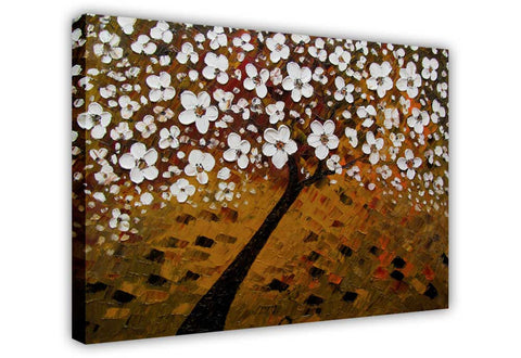 Brown Tree With White Flowers on Framed Canvas Wall Art Prints Floral Pictures Home Decoration Room Deco Poster Photo Artwork-3D