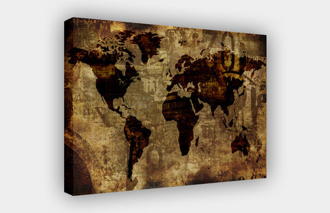 Brown Vintage Atlas Map with Urban Text on Framed Canvas Wall Art Prints Pictures Home Decoration Room Deco Poster Photo Artwork-3D