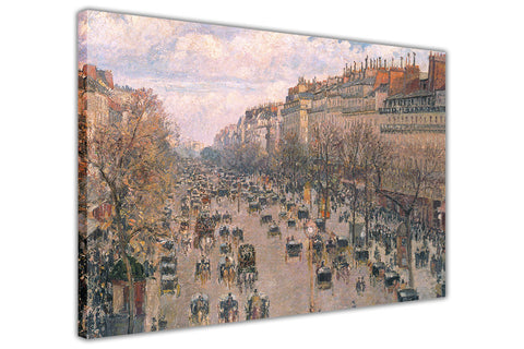 Boulevard Montmartre in Paris By Camille Pissarro Canvas Wall Print Famous Artwork For Livingroom Bedroom Office Art Pictures Framed