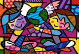 Children of the World by Romero Britto Oil Painting Re-printed on Framed Canvas Wall Art Prints Home Decoration Pictures Room Deco Photo-Front
