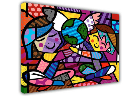Children of the World by Romero Britto Oil Painting Re-printed on Framed Canvas Wall Art Prints Home Decoration Pictures Room Deco Photo-3D