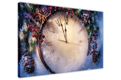 Christmas Clock on Framed Canvas Wall Art Prints Floral Pictures Home Decoration Room Deco Poster Photo Artwork-3D