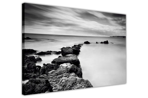 Black and White Coast Water Summer Framed Canvas Wall Art Prints Landscape Pictures Home Decoration Room Deco Poster Photo Artwork-3D