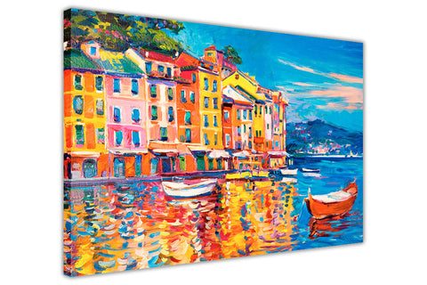 Colourful Boats and Town Oil Painting Re-printed on Framed Canvas Wall Art Prints Home Decoration Pictures Room Deco Photo-3D