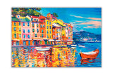 Colourful Boats and Town Oil Painting Re-printed on Framed Canvas Wall Art Prints Home Decoration Pictures Room Deco Photo-Front