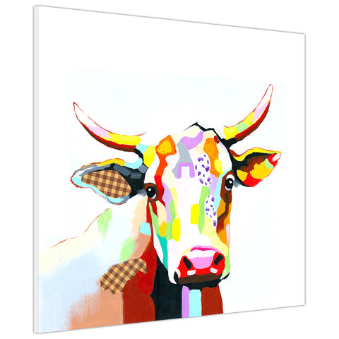 Colourful cow on Canvas print Wall Art Pictures for Living Room Bedroom Office Home Decoration-3D