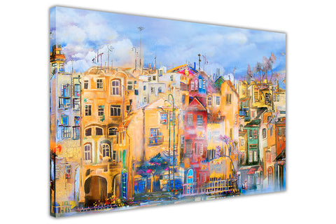 Colourful Town Watter Colour Re-print on Framed Canvas Wall Art Prints Home Decoration Pictures Room Deco Photo-3D