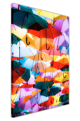 Colourful Umbrellas on Framed Canvas Wall Art Prints Home Decoration Pictures Room Deco Photo-3D