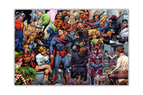 Artist Painting DC Superheroes on Framed Canvas Wall Art Prints Room Deco Poster Photo Comic Pictures Home Decoration Artwork-Front