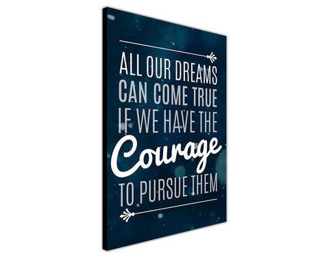 Inspirational Dream and Courage Quote Framed Canvas Wall Art Prints Room Deco Poster Photo Landscape Pictures Home Decoration Artwork-3D