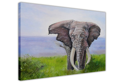 Elephant Over River on Framed Canvas Wall Art Prints Floral Pictures Home Decoration Room Deco Poster Photo Artwork-3D