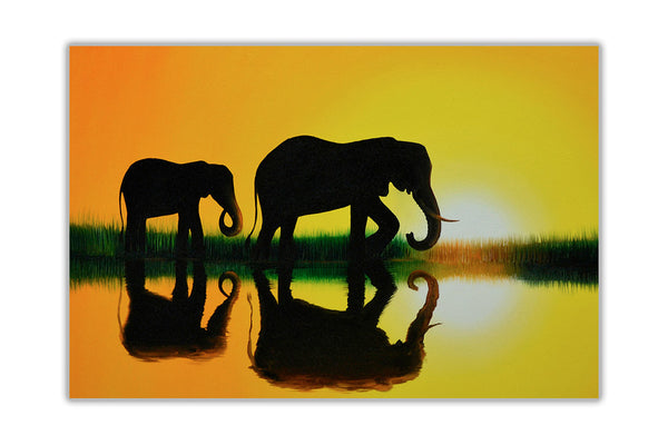Sunset Elephant Family Silhouette On Framed Canvas Wall