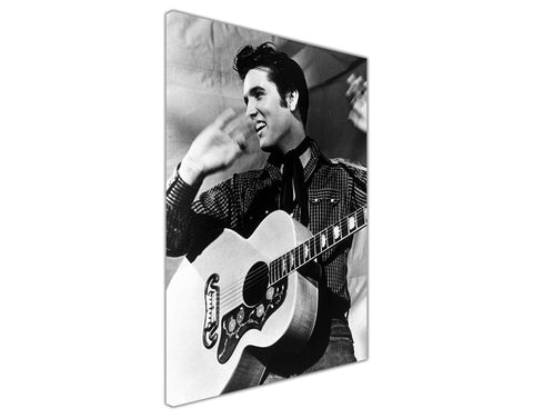 Elvis Presley And Guitar Pictures Nostalgia Black And White Canvas Wall Art Prints