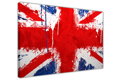 English Flag Paint Splatter on Framed Canvas Wall Art Prints Floral Pictures Home Decoration Room Deco Poster Photo Artwork-3D