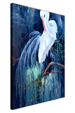 White Crane in The Evening on Framed Canvas Wall Art Prints Floral Pictures Home Decoration Room Deco Poster Photo Artwork-3D