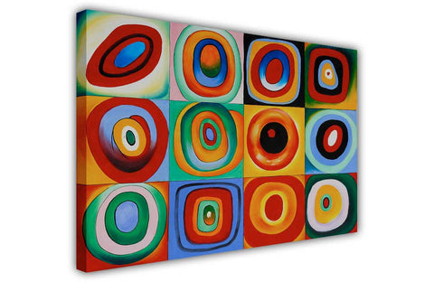 Farbstudie Quadrate by Wassily Kandinsky on Framed Canvas Wall Art Prints Room Deco Poster Photo Landscape Pictures Home Decoration Artwork-3D
