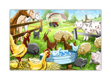 Childrens Farm Animals on Framed Canvas Wall Art Prints Room Deco Poster Photo Landscape Pictures Home Decoration Artwork-Front
