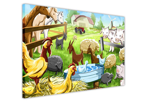 Childrens Farm Animals on Framed Canvas Wall Art Prints Room Deco Poster Photo Landscape Pictures Home Decoration Artwork-3D