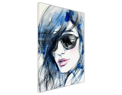 Blue Fashion Woman Water Colour Re-print on Framed Canvas Wall Art Prints Home Decoration Pictures Room Deco Photo-3D