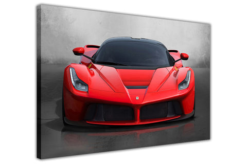 Red Ferrari La Ferrari on Framed Canvas Wall Art Prints Floral Pictures Home Decoration Room Deco Poster Photo Artwork-3D