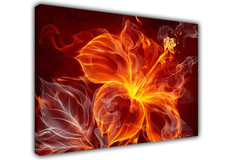 Red Burning Flame Flower on Framed Canvas Wall Art Prints Floral Pictures Home Decoration Room Deco Poster Photo Artwork-3D