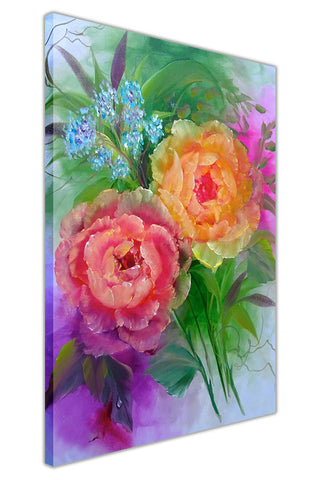 Flower Bouquet on Framed Canvas Wall Art Prints Floral Pictures Home Decoration Room Deco Poster Photo Artwork-3D