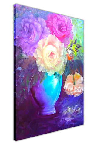 Flower Bouquet in Vase on Framed Canvas Wall Art Prints Floral Pictures Home Decoration Room Deco Poster Photo Artwork-3D