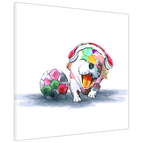 Colourful cute football dog on Canvas Wall Art Pictures Animal Prints for Living Room Decoration Bedroom Office Home Photos Artwork Children Kids-3D