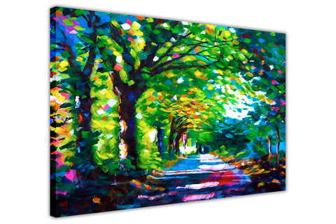 Forest Path Oil Painting Re-printed on Framed Canvas Wall Art Prints Home Decoration Pictures Room Deco Photo-3D