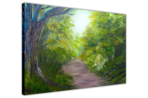 Beautiful Forest Footpath on Framed Canvas Wall Art Prints Floral Pictures Home Decoration Room Deco Poster Photo Artwork-3D