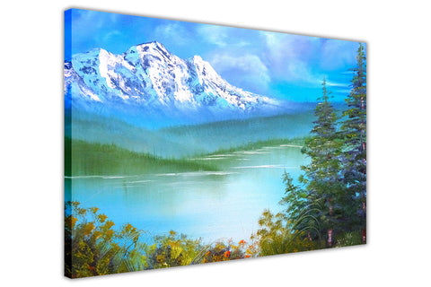 Forest and Snow Covered Mountains on Framed Canvas Wall Art Prints Floral Pictures Home Decoration Room Deco Poster Photo Artwork-3D