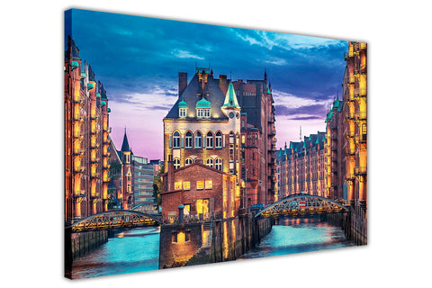 Iconic City View Of Hamburg Germany Printed On A Framed Canvas Pictures Wall Art Prints Home Decoration-3D