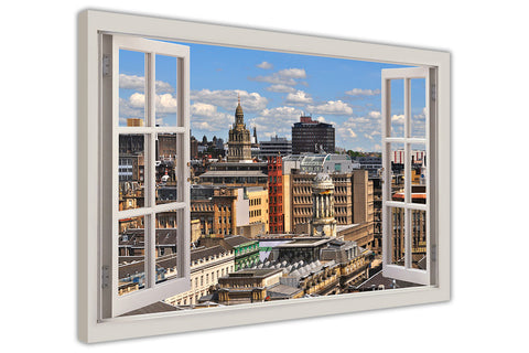Glasgow , Scotland 3D Window Bay Effect on Framed Canvas Wall Art Prints Room Deco Poster Photo Landscape Pictures Home Decoration Artwork-3D