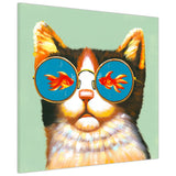 Cat with sunglasses looking at a fish inside a bowl on Framed Canvas Wall Pitures Art For The Bedroom Livingroom home Office Animal Prints Kids Children-3D