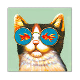 Cat with sunglasses looking at a fish inside a bowl on Framed Canvas Wall Pitures Art For The Bedroom Livingroom home Office Animal Prints Kids Children-Front