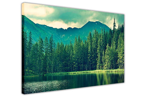 Green Forest and Lake on Framed Canvas Wall Art Prints Landscape Pictures Home Decoration Room Deco Poster Photo Artwork-3D