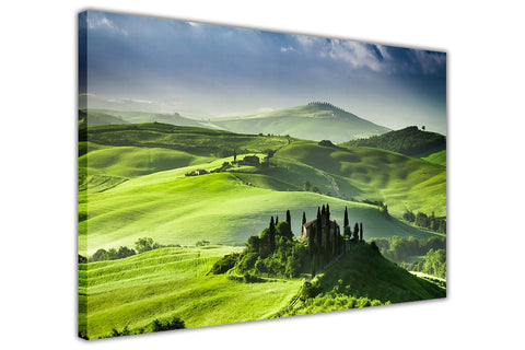Green Valley on Framed Canvas Wall Art Prints Room Deco Poster Photo Landscape Pictures Home Decoration Artwork-3D