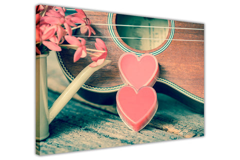 Guitar and Pink Hearts Canvas Wall Art Prints Room Deco Poster Photo Landscape Pictures Home Decoration Artwork-3D