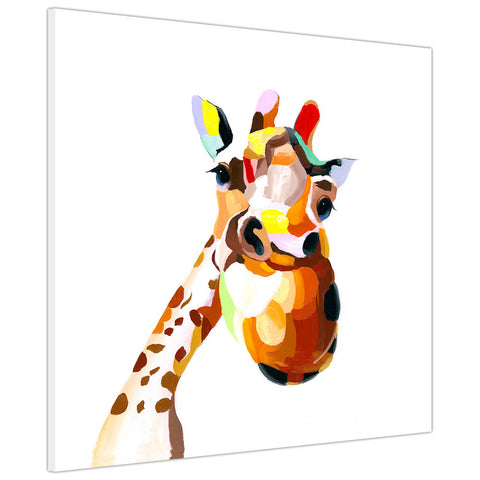 Colourful happy giraffe on Canvas print Wall Art Pictures for Living Room Bedroom Office Home Decoration-3D