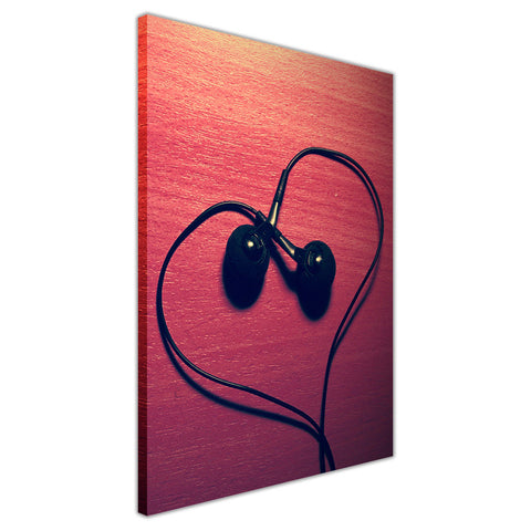 Heart shaped Headphones on Framed Canvas Wall Art Pictures Music Prints photos Home Decoration Room Deco Posters-3D