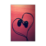 Heart shaped Headphones on Framed Canvas Wall Art Pictures Music Prints photos Home Decoration Room Deco Posters-Front