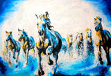 Beautiful Blue Running Stallions Oil Painting Re-print on Framed Canvas Wall Art Prints Room Deco Poster Photo Landscape Pictures Home Decoration Artwork-Front
