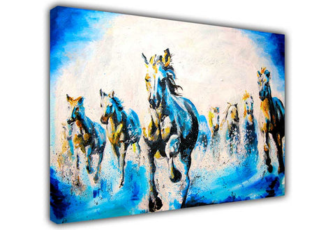 Beautiful Blue Running Stallions Oil Painting Re-print on Framed Canvas Wall Art Prints Room Deco Poster Photo Landscape Pictures Home Decoration Artwork-3D